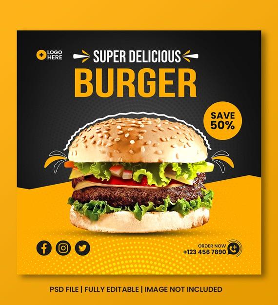 Food menu discount social media post template Premium Psd