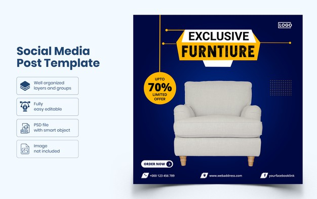 Furniture social media banner template Premium Psd