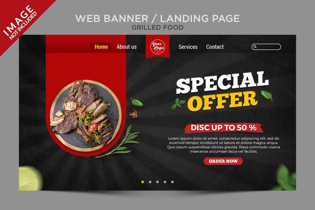 Grilled food landing page series
