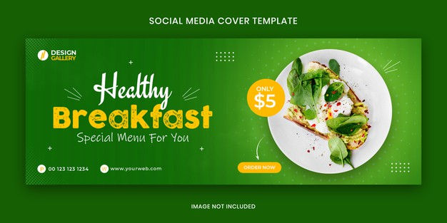 Healthy breakfast web and social media fast food restaurant cover banner template Premium Psd