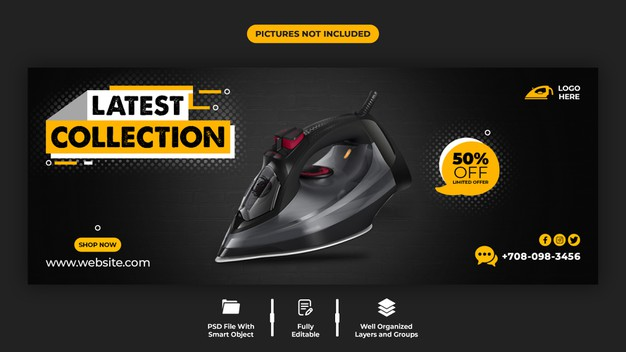 Product promotion and ironing machine facebook cover template Premium Psd