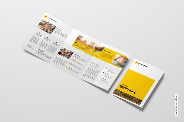 Trifold brochure mockup Premium Psd