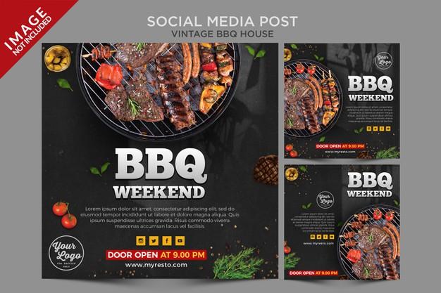 Vintage bbq house social media post series Premium Psd
