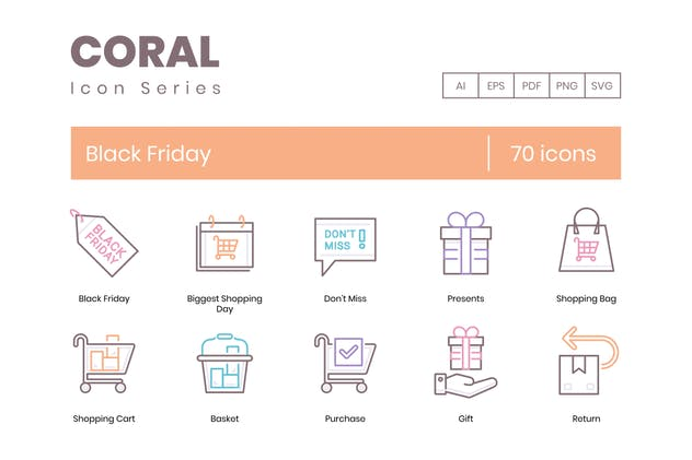 70 Black Friday Line Icons