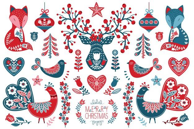 Christmas scandinavian folk art collection Premium Vector