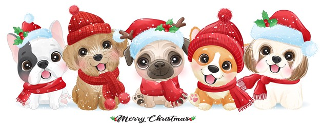 Cute doodle puppy for christmas with watercolor illustration Premium Vector