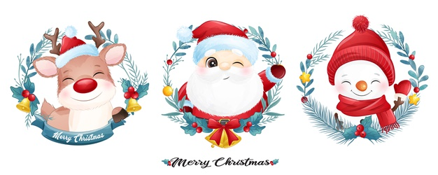Cute santa claus and friends for christmas with watercolor banner Premium Vector