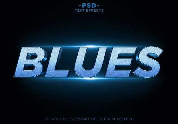 3d blues glitter effects editable text Premium Psd