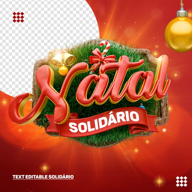 3d christmas logo with wooden background bells and balls tree Premium Psd
