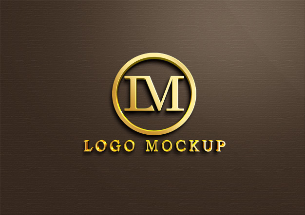 3d gold logo mockup on wall Premium Psd