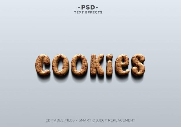 3d realistic cookies effect editable text Premium Psd