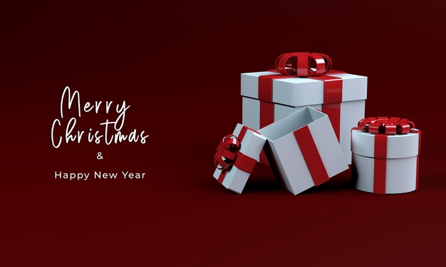 3d render gift box for merry christmas Free Psd