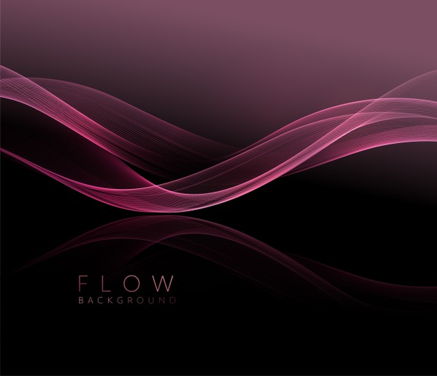 Abstract shiny pink wavy element. flow rose wave on dark background. Premium Vector