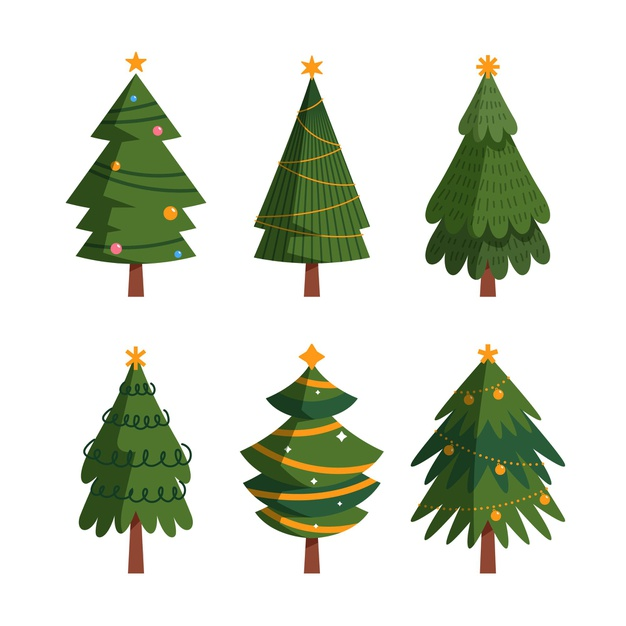 Christmas tree collection in flat design Free Vector