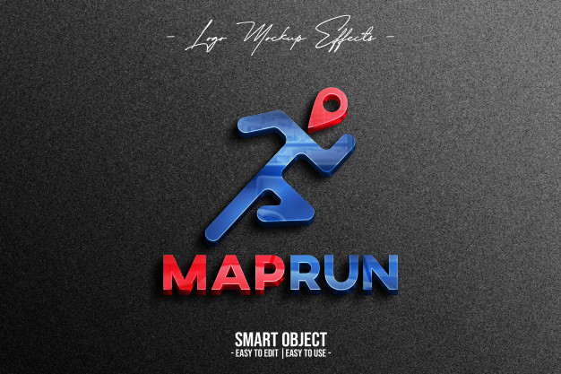 Close up on logo mockup with maprun Premium Psd