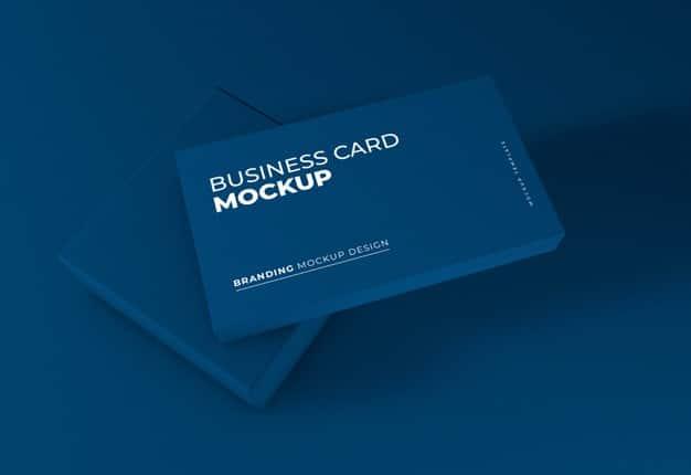 Elegant dark blue business card mockup Premium Psd