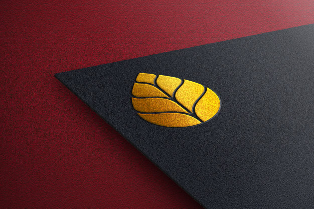 Elegant golden logo mockup with black paper Premium Psd