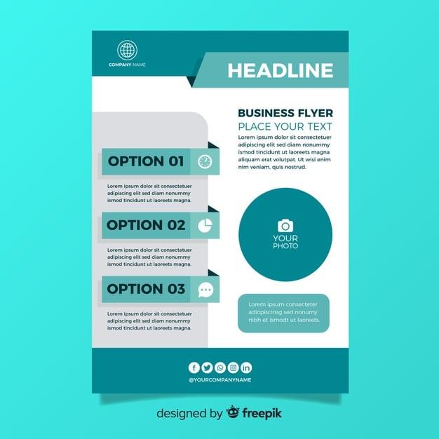 Flat design business flyer template Premium Vector