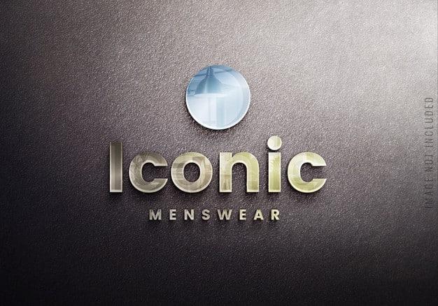 Glass logo mockup on black wall Premium Psd