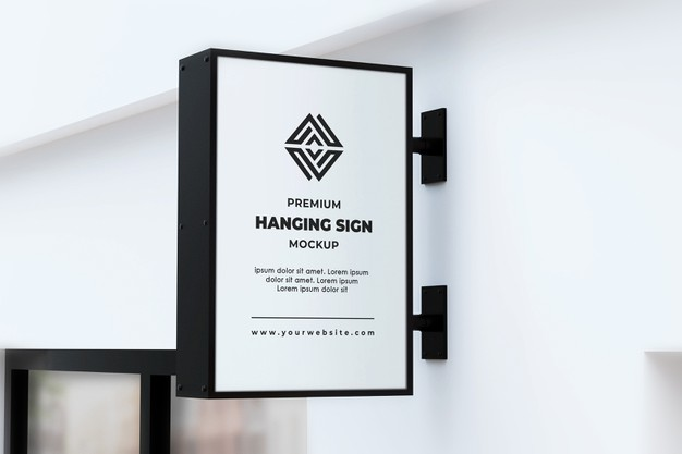 Hanging sign mockup outdor neonbox black and white Premium Psd