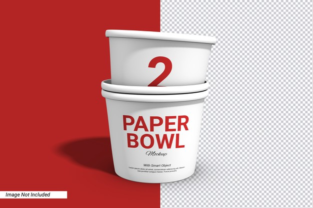 Label stack paper bowl cup mockup isolated Premium Psd