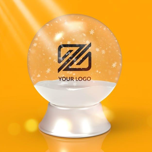 Logo mockup christmas snowball isolated Premium Psd