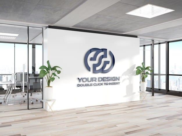 Logo on office wall mockup Premium Psd