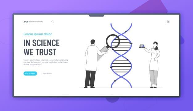 Medicine technology genetic testing website landing page Premium Vector