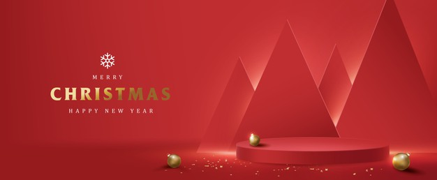 Merry christmas banner with product display cylindrical shape Premium Vector