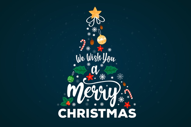 Merry christmas tree with lettering decoration Free Vector