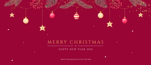 Minimal christmas banner with beautiful ornaments and nature Free Psd