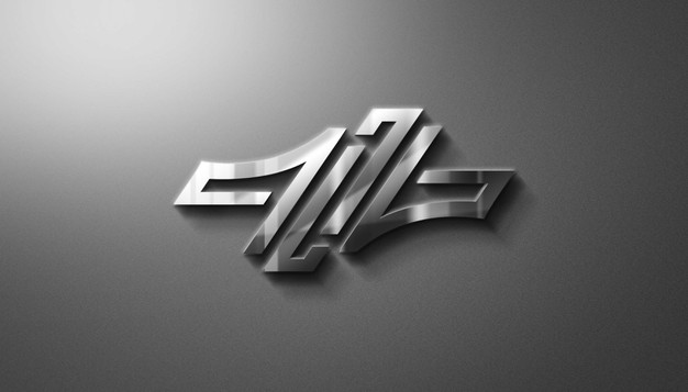 Modern 3d metalic logo mockup Premium Psd