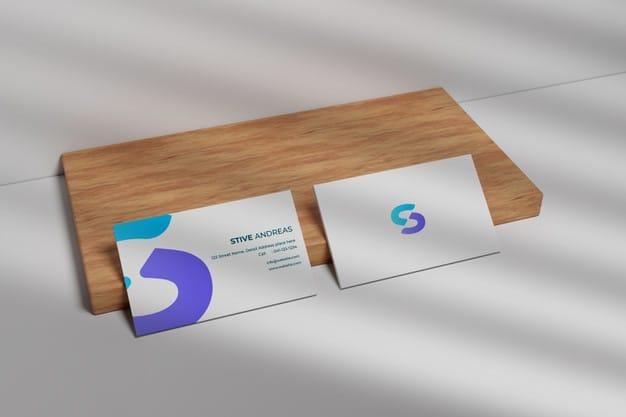 Modaern business card mockup on wood Premium Psd