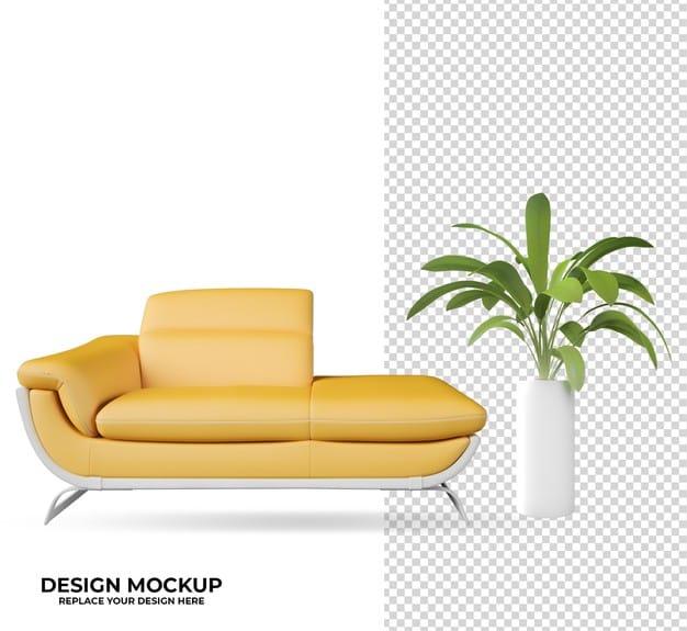 Rendering plant and logo mockup decoration Premium Psd