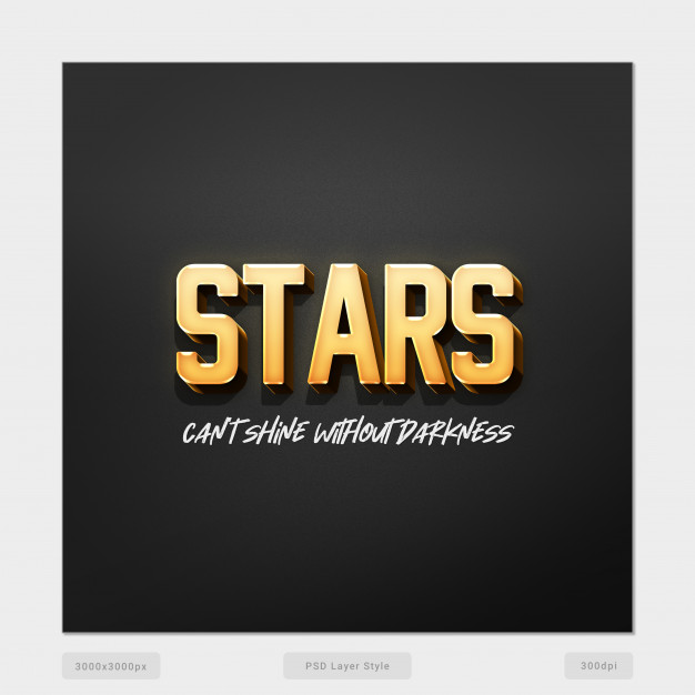 Stars can't shine without darkness 3d text style effect psd Premium Psd