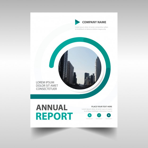 Abstract green circular annual report template Free Vector