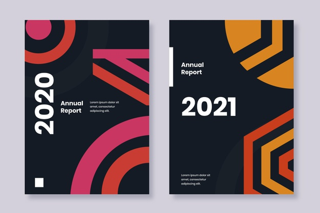 Annual report 2020 and 2021 templates Free Vector