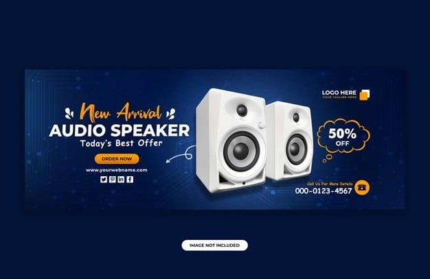 Audio speaker brand product facebook cover banner design template Premium Psd