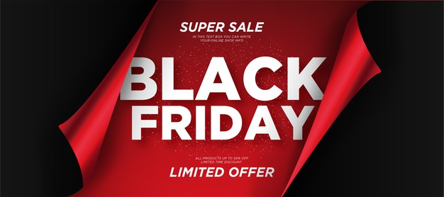 Black friday sale background with realistic paper Free Vector