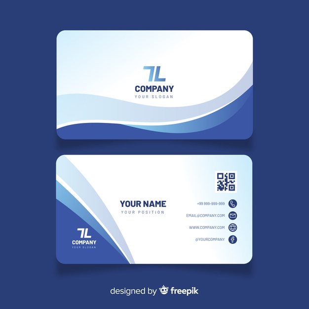 Business card template with abstract shapes Premium Vector