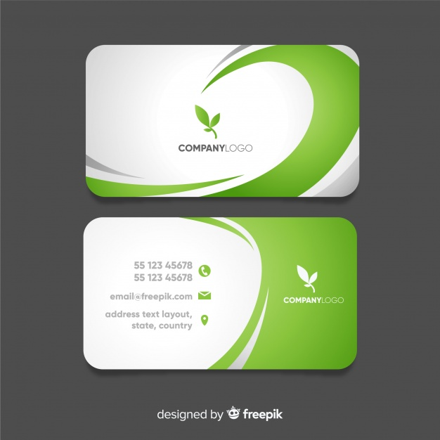 Business card with abstract wavy shapes Premium Vector