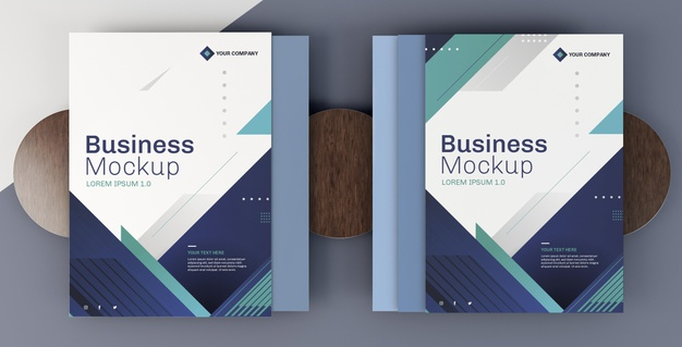 Business stationery mock-up arrangement cover books Free Psd