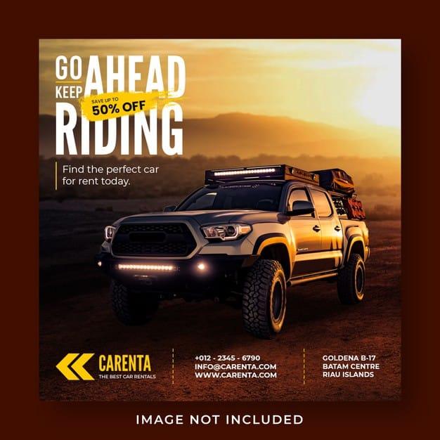 Car rental promotion social media instagram post banner template Premium Psd