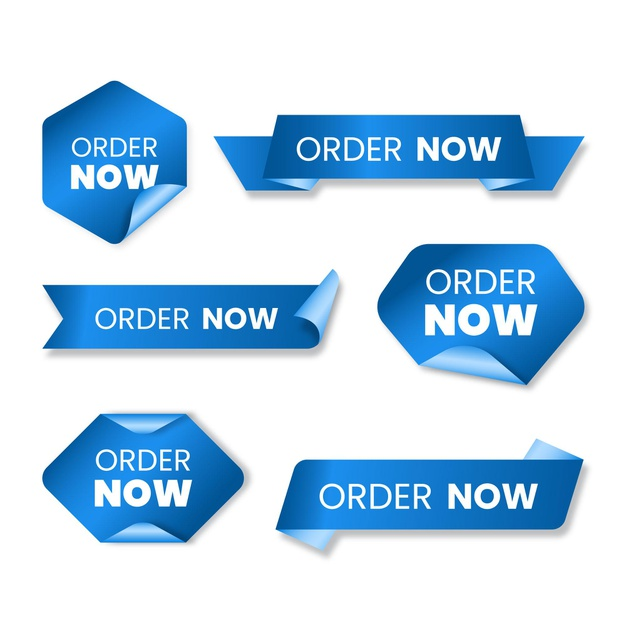 Collection of blue order now labels Premium Vector