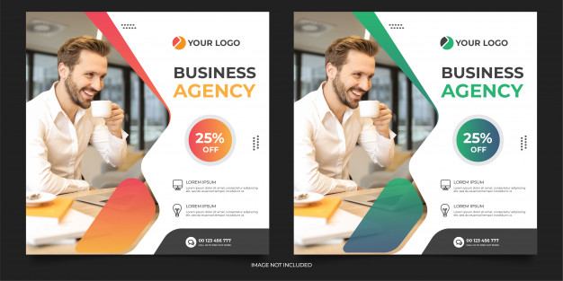 Digital agency social media post template Premium Vector