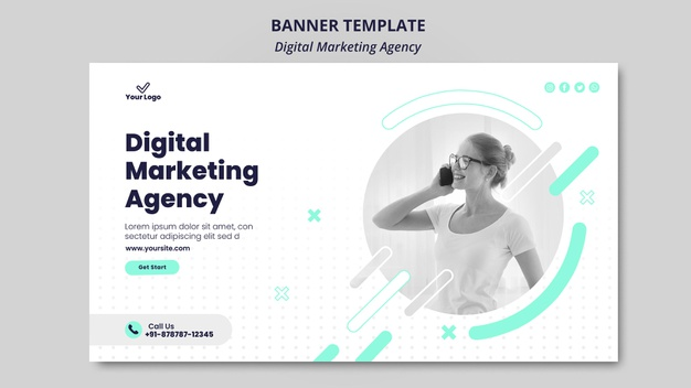 Digital marketing agency banner theme Premium Psd