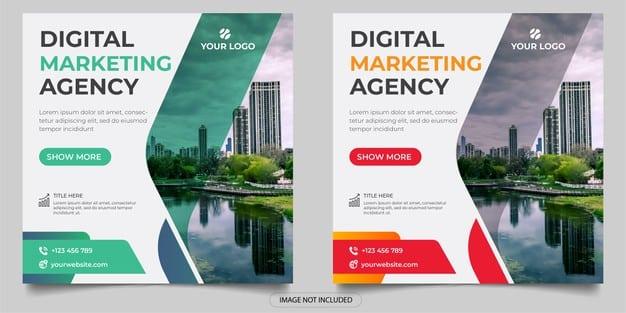 Digital marketing agency social media post Premium Vector