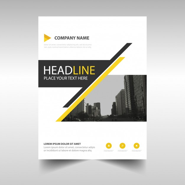 Geometric leaflet with yellow and black lines Free Vector