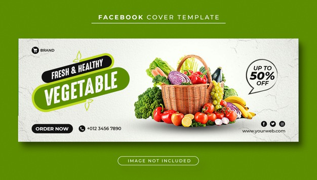 Healthy food vegetable facebook cover Premium Psd