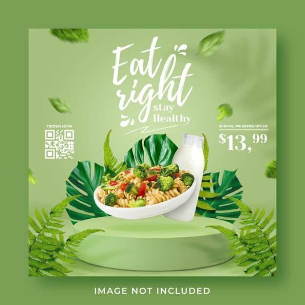 Healthy menu promotion social media instagram post banner template Premium Psd